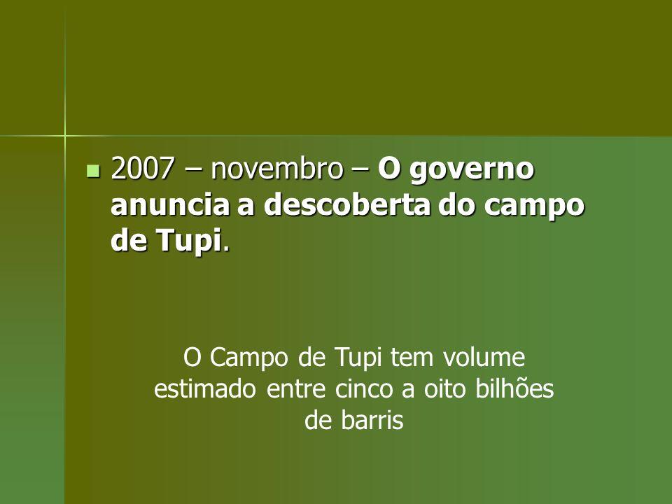 2007 – novembro – O governo anuncia a descoberta do campo de Tupi. 2007 – novembro – O governo anuncia a descoberta do campo de Tupi. O Campo de Tupi