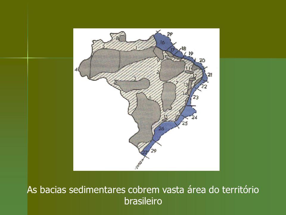 As bacias sedimentares cobrem vasta área do território brasileiro