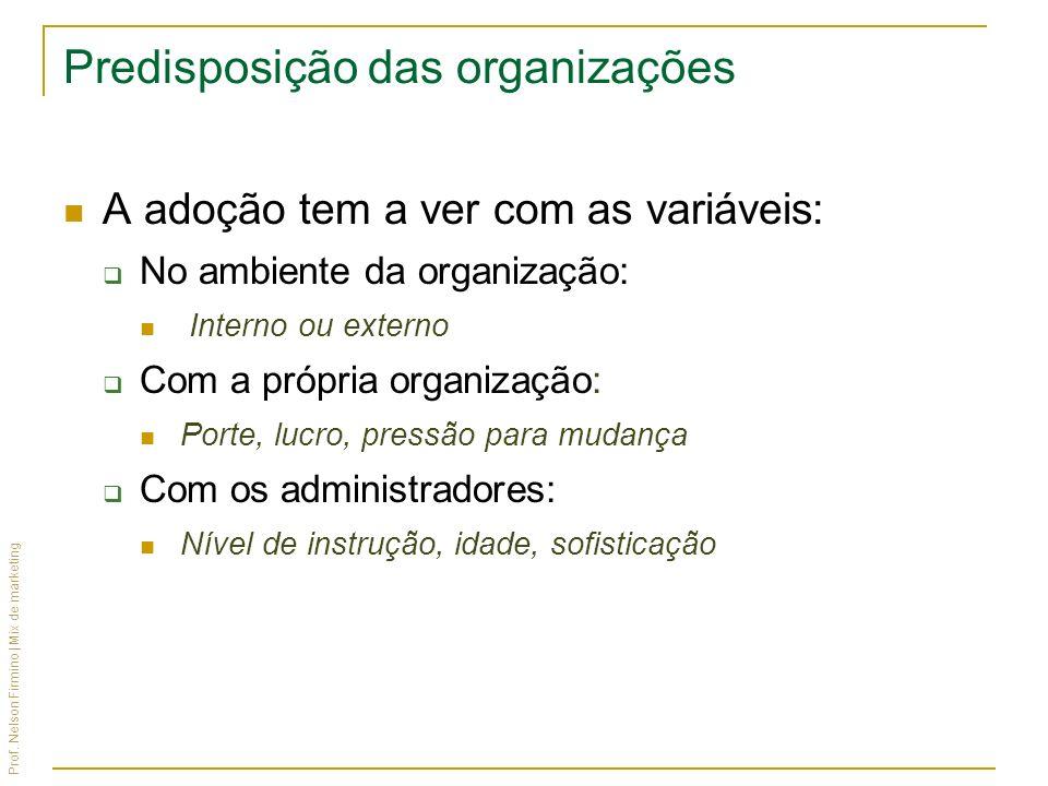 Prof. Nelson Firmino | Mix de marketing Predisposição das organizações A adoção tem a ver com as variáveis: No ambiente da organização: Interno ou ext