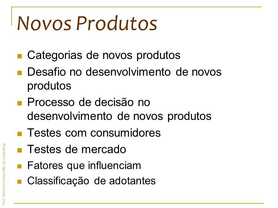 Prof. Nelson Firmino | Mix de marketing Novos Produtos Categorias de novos produtos Desafio no desenvolvimento de novos produtos Processo de decisão n