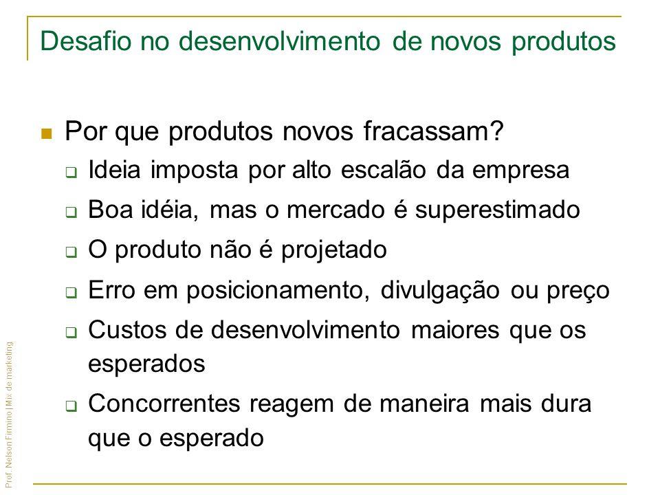 Prof. Nelson Firmino | Mix de marketing Desafio no desenvolvimento de novos produtos Por que produtos novos fracassam? Ideia imposta por alto escalão