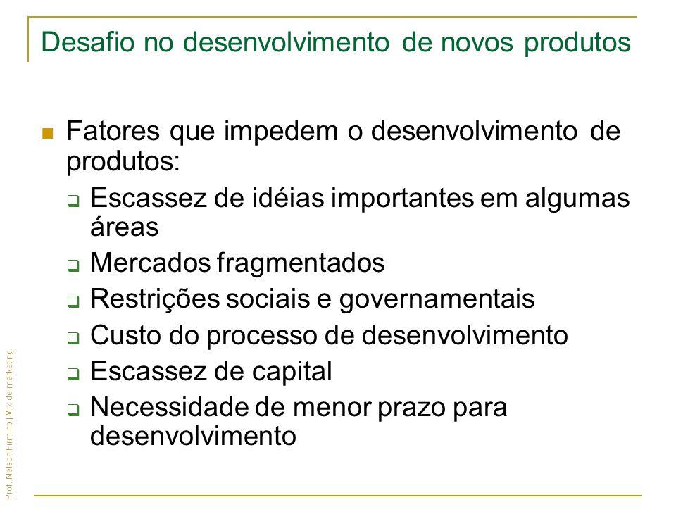 Prof. Nelson Firmino | Mix de marketing Desafio no desenvolvimento de novos produtos Fatores que impedem o desenvolvimento de produtos: Escassez de id