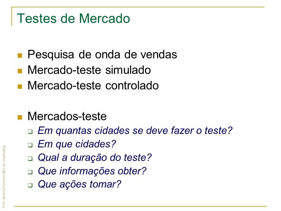 Prof. Nelson Firmino | Mix de marketing Testes de Mercado Pesquisa de onda de vendas Mercado-teste simulado Mercado-teste controlado Mercados-teste Em