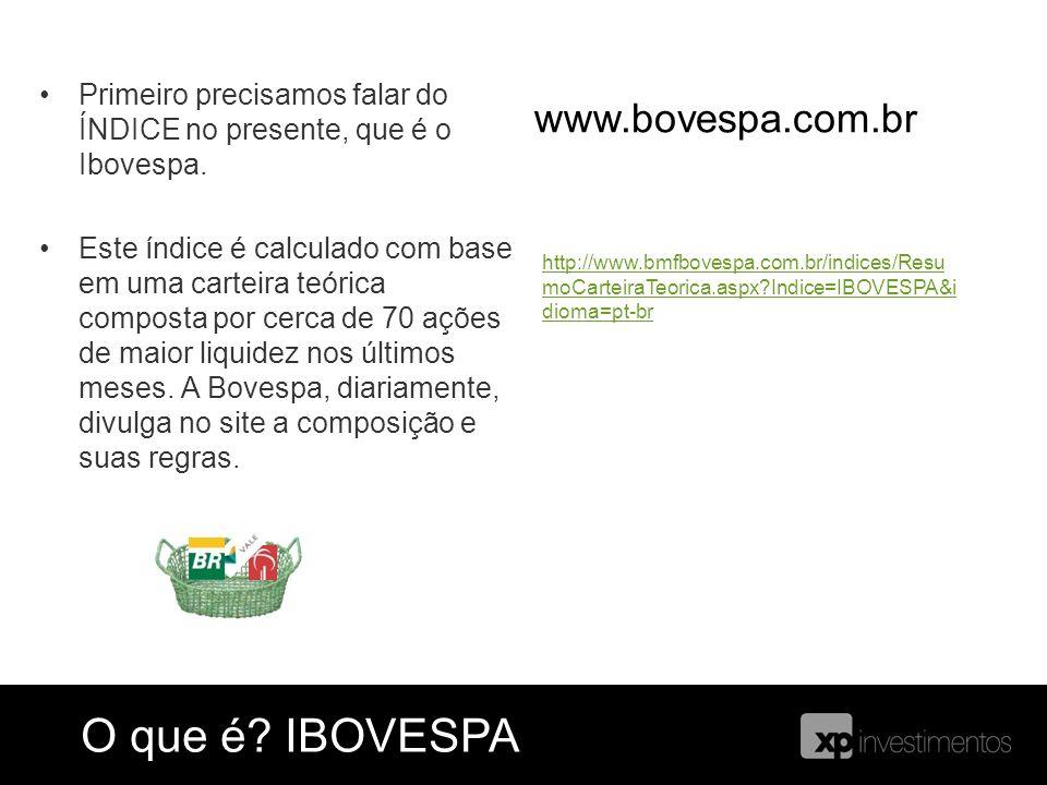 Primeiro precisamos falar do ÍNDICE no presente, que é o Ibovespa. Este índice é calculado com base em uma carteira teórica composta por cerca de 70 a