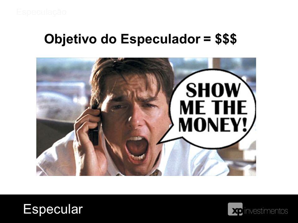Especulação Objetivo do Especulador = $$$ EspecularEspecular