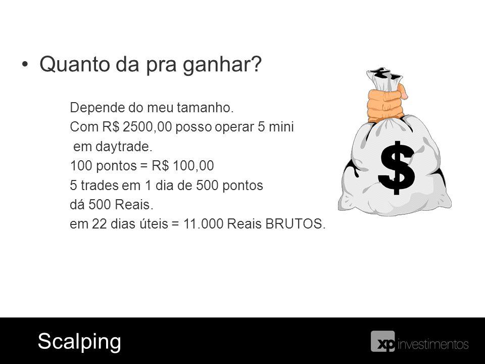 Ferramentas = Blog do Índice ScalpingScalping Quanto da pra ganhar? Depende do meu tamanho. Com R$ 2500,00 posso operar 5 mini em daytrade. 100 pontos