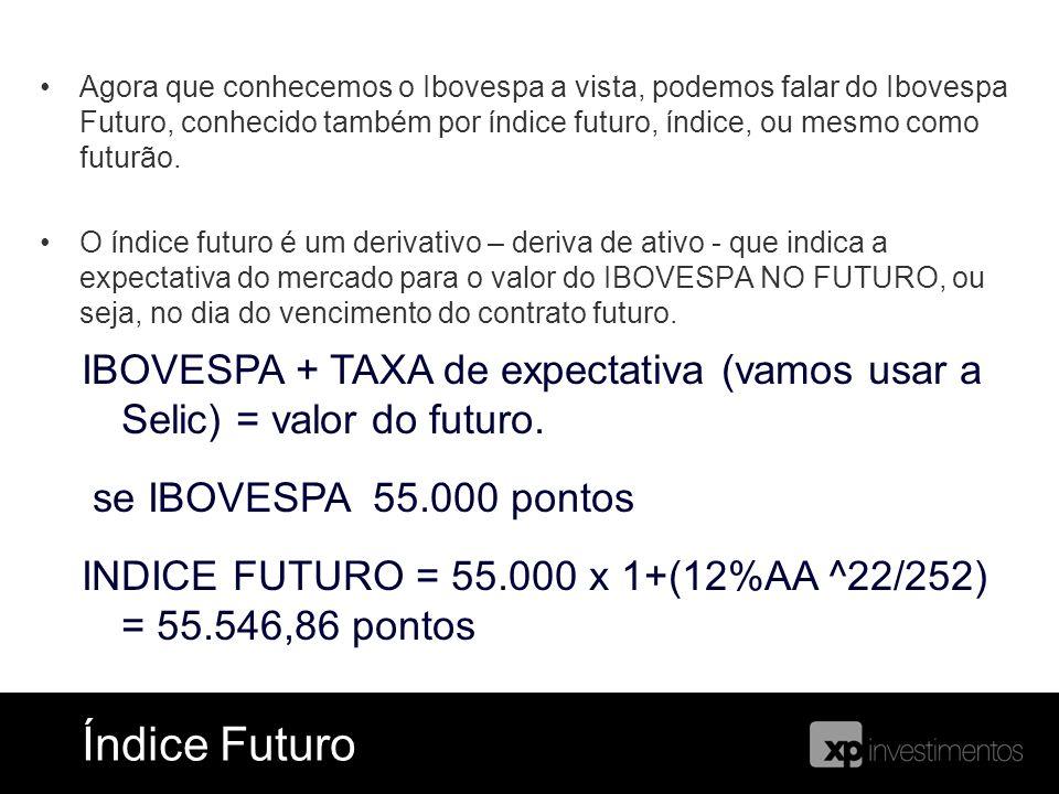Agora que conhecemos o Ibovespa a vista, podemos falar do Ibovespa Futuro, conhecido também por índice futuro, índice, ou mesmo como futurão. O índice
