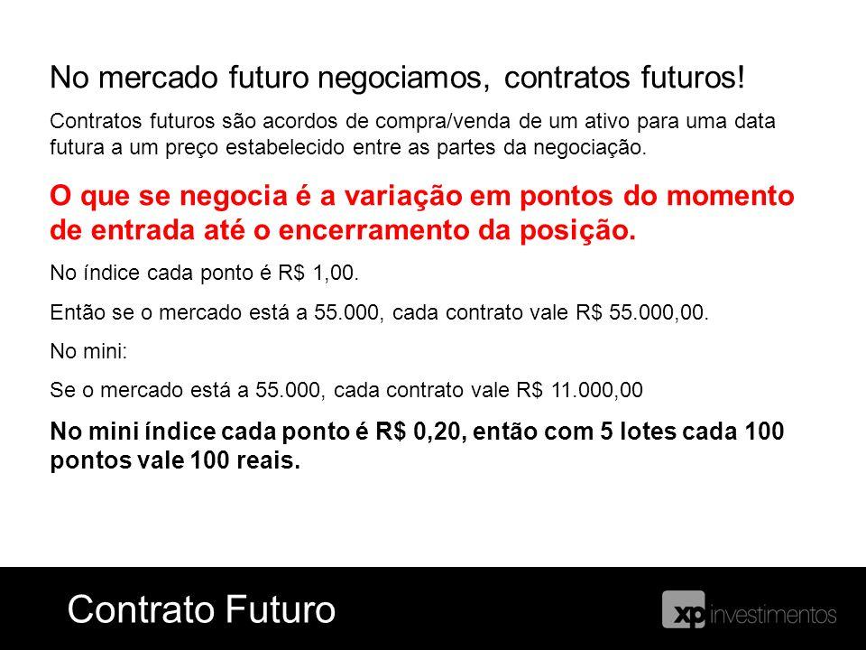 No mercado futuro negociamos, contratos futuros! Contratos futuros são acordos de compra/venda de um ativo para uma data futura a um preço estabelecid