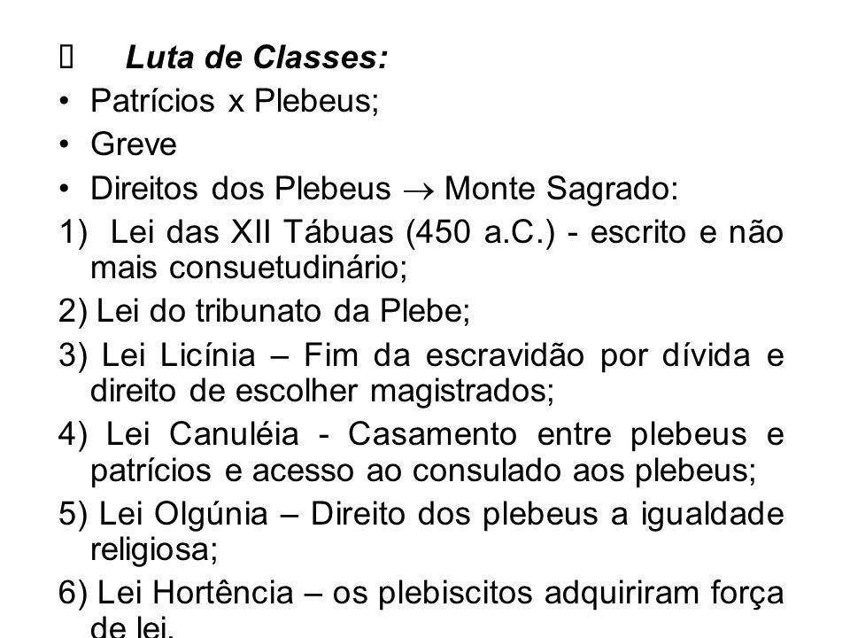 Luta de Classes: Patrícios x Plebeus; Greve Direitos dos Plebeus Monte Sagrado: 1) Lei das XII Tábuas (450 a.C.) - escrito e não mais consuetudinário;
