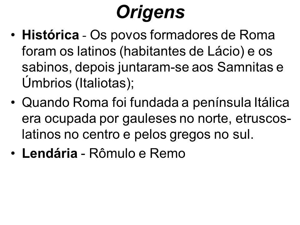 Origens Histórica - Os povos formadores de Roma foram os latinos (habitantes de Lácio) e os sabinos, depois juntaram-se aos Samnitas e Úmbrios (Italio