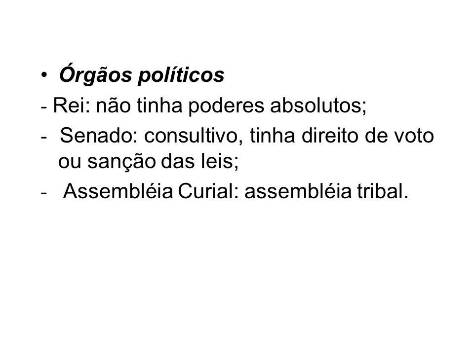 Órgãos políticos - Rei: não tinha poderes absolutos; - Senado: consultivo, tinha direito de voto ou sanção das leis; - Assembléia Curial: assembléia t