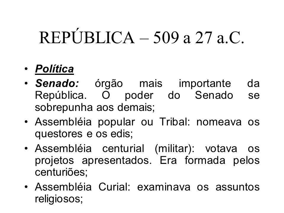 REPÚBLICA – 509 a 27 a.C. Política Senado: órgão mais importante da República. O poder do Senado se sobrepunha aos demais; Assembléia popular ou Triba