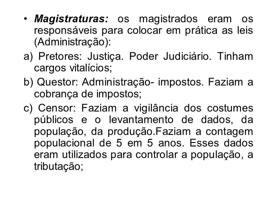Magistraturas: os magistrados eram os responsáveis para colocar em prática as leis (Administração): a) Pretores: Justiça. Poder Judiciário. Tinham car