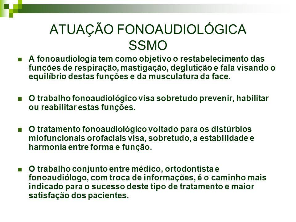 ATUAÇÃO FONOAUDIOLÓGICA SSMO A fonoaudiologia tem como objetivo o restabelecimento das funções de respiração, mastigação, deglutição e fala visando o