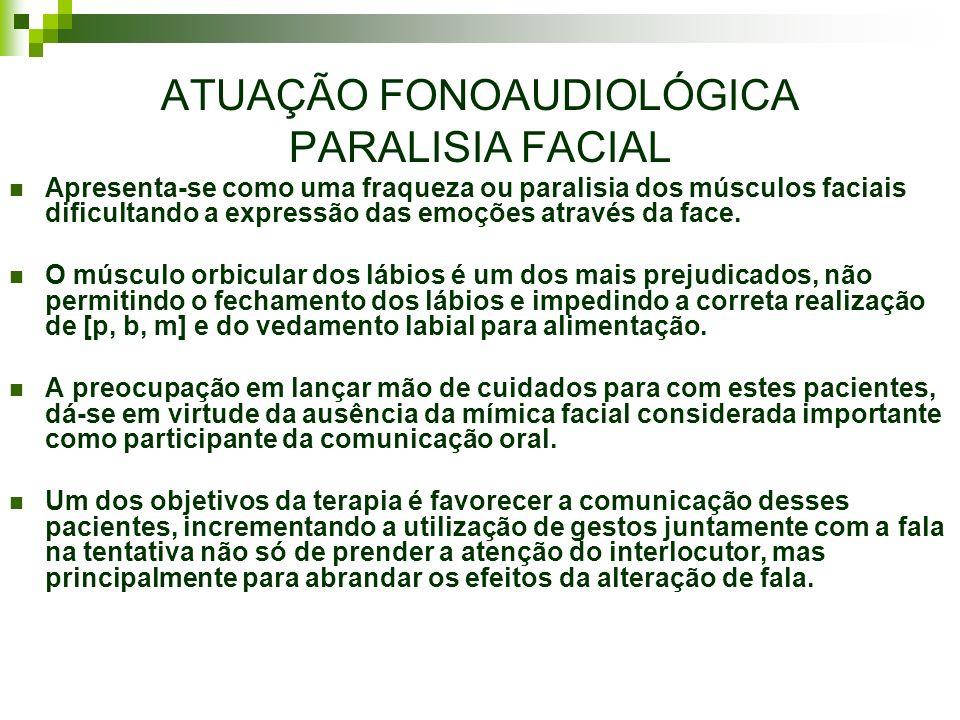 ATUAÇÃO FONOAUDIOLÓGICA PARALISIA FACIAL Apresenta-se como uma fraqueza ou paralisia dos músculos faciais dificultando a expressão das emoções através