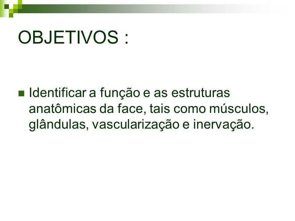 OBJETIVOS : Identificar a função e as estruturas anatômicas da face, tais como músculos, glândulas, vascularização e inervação.
