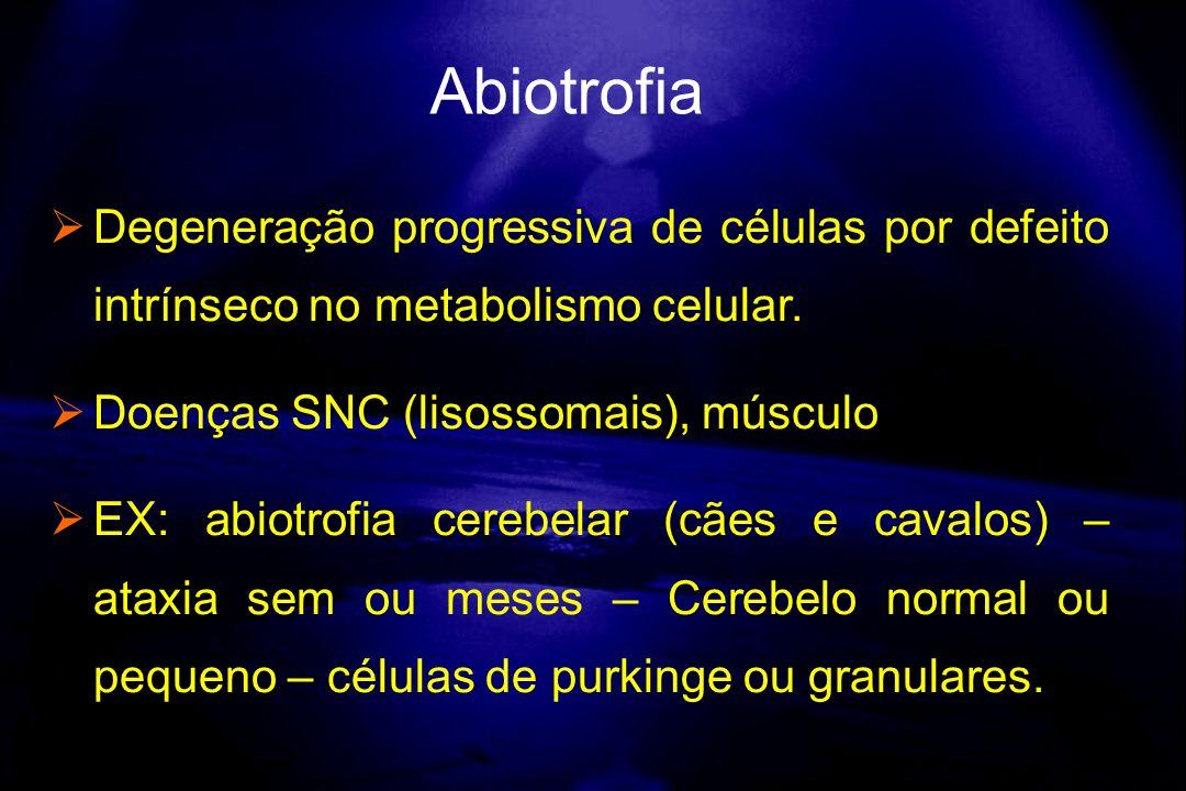 Degeneração progressiva de células por defeito intrínseco no metabolismo celular. Doenças SNC (lisossomais), músculo EX: abiotrofia cerebelar (cães e