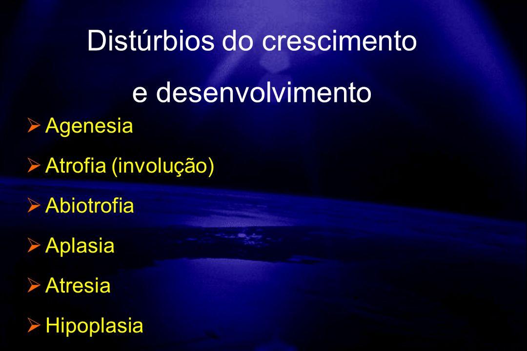 Agenesia Atrofia (involução) Abiotrofia Aplasia Atresia Hipoplasia Distúrbios do crescimento e desenvolvimento
