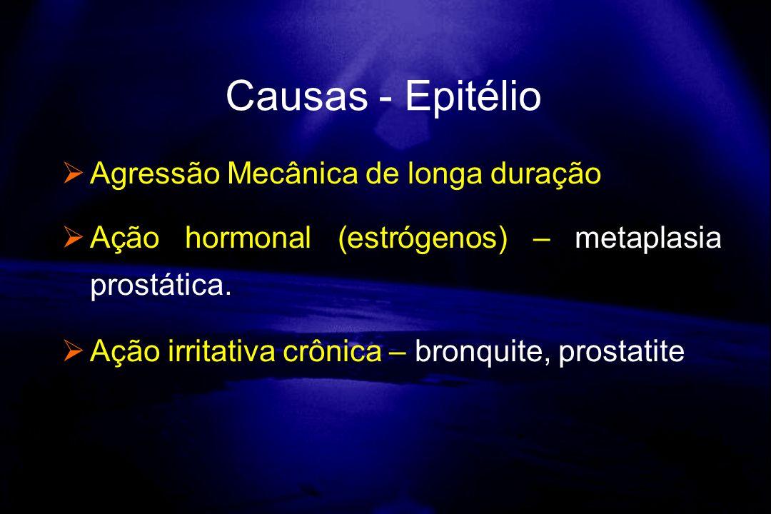 Agressão Mecânica de longa duração Ação hormonal (estrógenos) – metaplasia prostática. Ação irritativa crônica – bronquite, prostatite Causas - Epitél