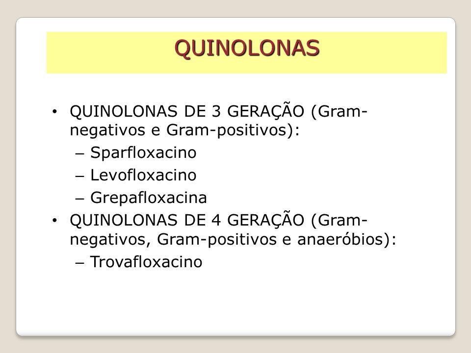 QUINOLONAS QUINOLONAS DE 3 GERAÇÃO (Gram- negativos e Gram-positivos): – Sparfloxacino – Levofloxacino – Grepafloxacina QUINOLONAS DE 4 GERAÇÃO (Gram-