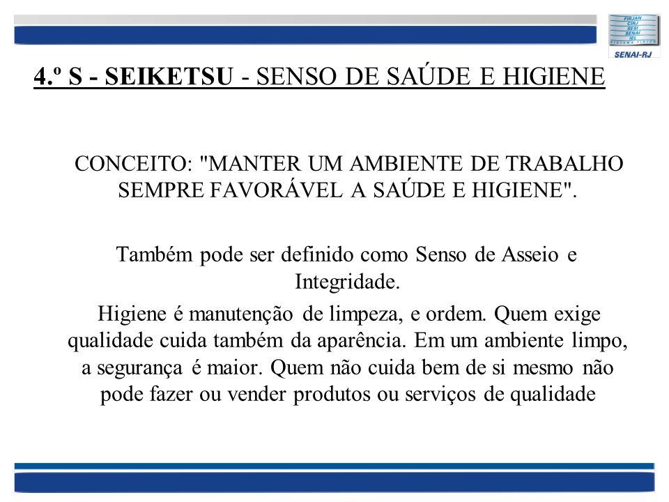 4.º S - SEIKETSU - SENSO DE SAÚDE E HIGIENE CONCEITO: