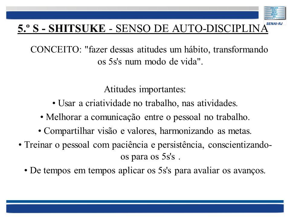 5.º S - SHITSUKE - SENSO DE AUTO-DISCIPLINA CONCEITO: