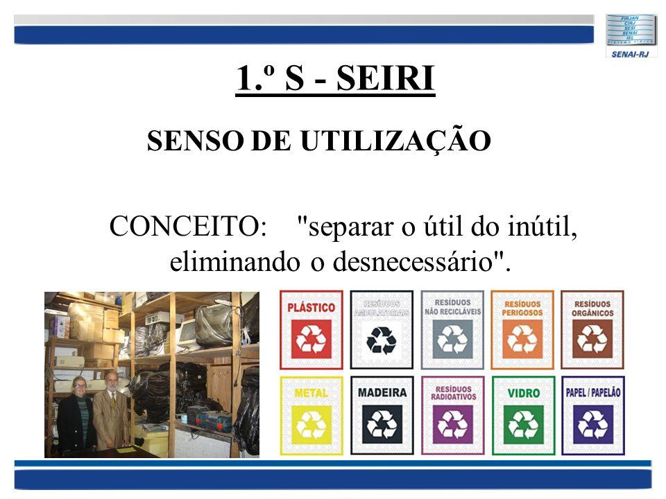1.º S - SEIRI SENSO DE UTILIZAÇÃO CONCEITO: