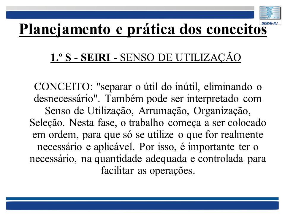 Planejamento e prática dos conceitos 1.º S - SEIRI - SENSO DE UTILIZAÇÃO CONCEITO: