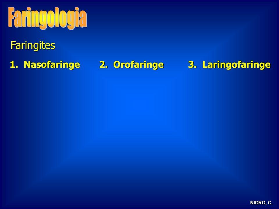NIGRO, C. Faringites 1.Nasofaringe 2. Orofaringe 3. Laringofaringe