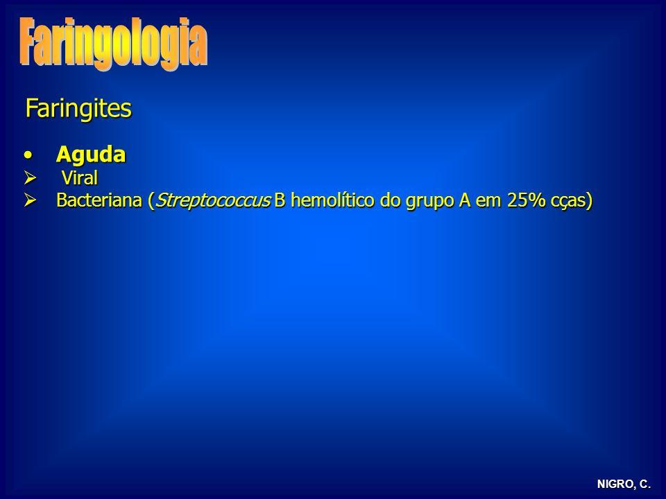 NIGRO, C. Faringites AgudaAguda Viral Viral Bacteriana (Streptococcus B hemolítico do grupo A em 25% cças) Bacteriana (Streptococcus B hemolítico do g