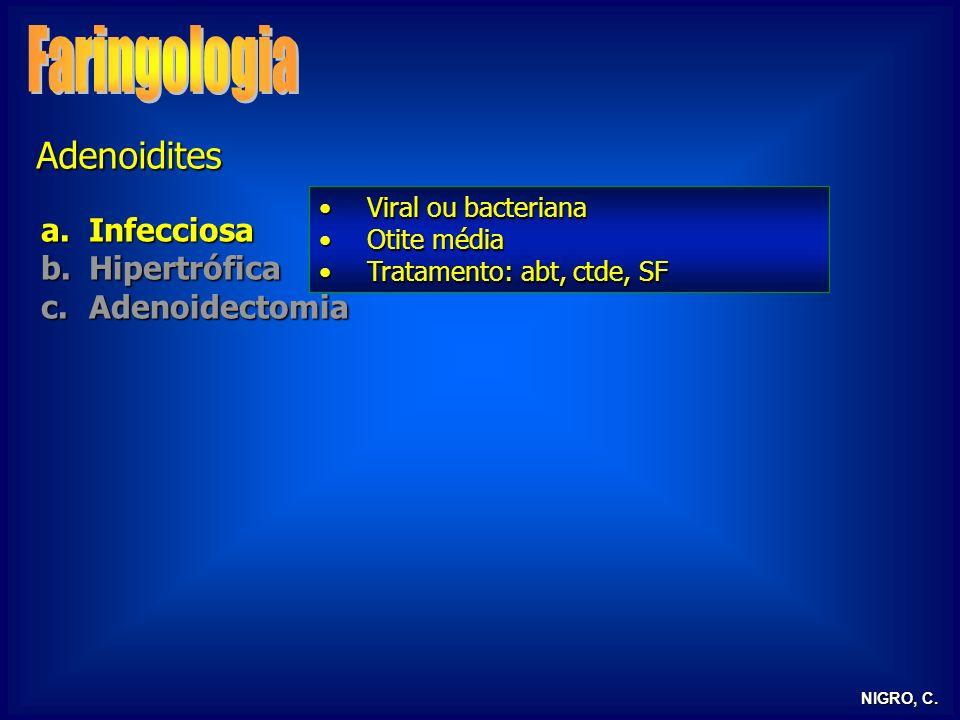 NIGRO, C. Adenoidites a.Infecciosa b.Hipertrófica c.Adenoidectomia Viral ou bacterianaViral ou bacteriana Otite médiaOtite média Tratamento: abt, ctde