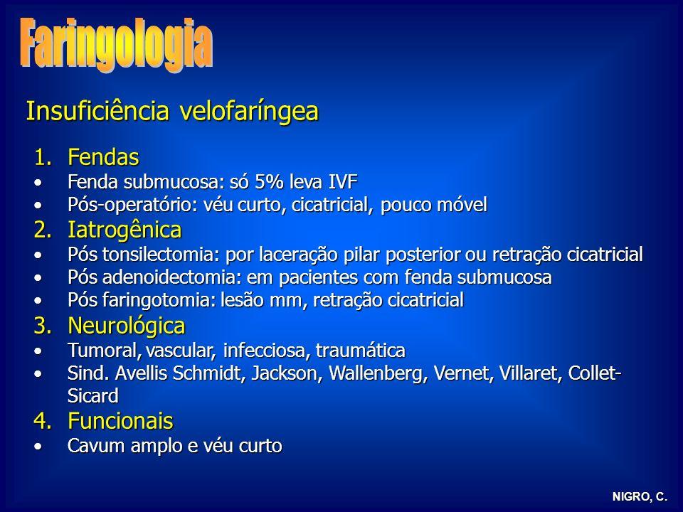 NIGRO, C. Insuficiência velofaríngea 1.Fendas Fenda submucosa: só 5% leva IVFFenda submucosa: só 5% leva IVF Pós-operatório: véu curto, cicatricial, p