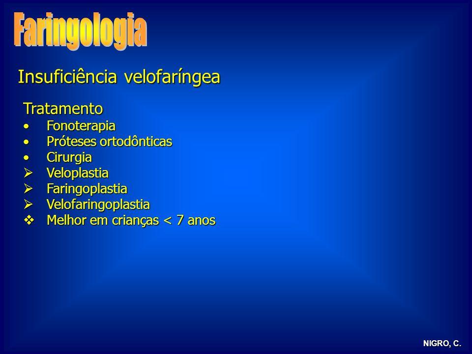 NIGRO, C. Insuficiência velofaríngea Tratamento FonoterapiaFonoterapia Próteses ortodônticasPróteses ortodônticas CirurgiaCirurgia Veloplastia Velopla