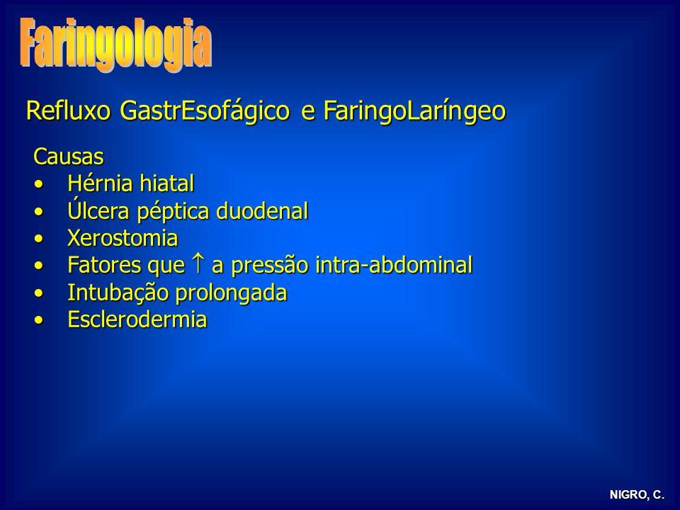 NIGRO, C. Refluxo GastrEsofágico e FaringoLaríngeo Causas Hérnia hiatalHérnia hiatal Úlcera péptica duodenalÚlcera péptica duodenal XerostomiaXerostom