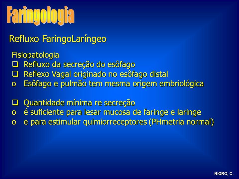 NIGRO, C. Refluxo FaringoLaríngeo Fisiopatologia Refluxo da secreção do esôfago Refluxo da secreção do esôfago Reflexo Vagal originado no esôfago dist