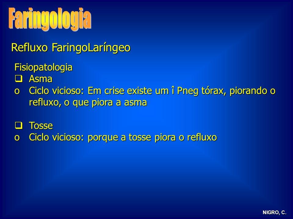 NIGRO, C. Refluxo FaringoLaríngeo Fisiopatologia Asma Asma oCiclo vicioso: Em crise existe um î Pneg tórax, piorando o refluxo, o que piora a asma Tos