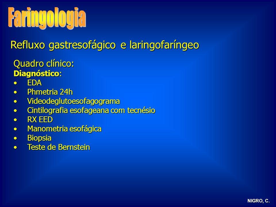 NIGRO, C. Refluxo gastresofágico e laringofaríngeo Quadro clínico: Diagnóstico: EDAEDA Phmetria 24hPhmetria 24h VideodeglutoesofagogramaVideodeglutoes