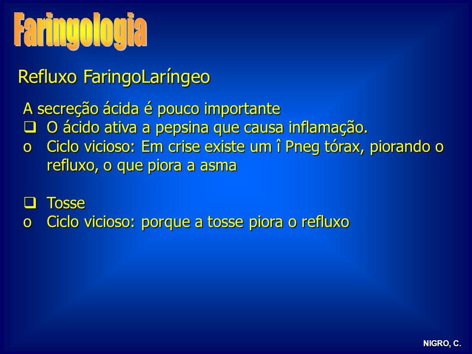 NIGRO, C. Refluxo FaringoLaríngeo A secreção ácida é pouco importante O ácido ativa a pepsina que causa inflamação. O ácido ativa a pepsina que causa