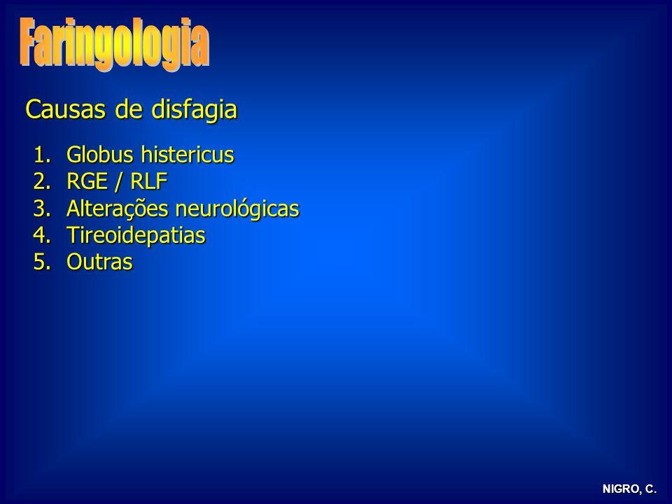 NIGRO, C. Causas de disfagia 1.Globus histericus 2.RGE / RLF 3.Alterações neurológicas 4.Tireoidepatias 5.Outras
