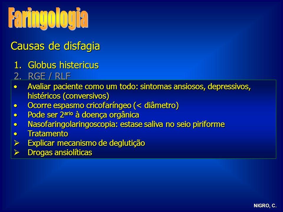 NIGRO, C. 1.Globus histericus 2.RGE / RLF 3.Alterações neurológicas 4.Tireoidepatias 5.Outras Avaliar paciente como um todo: sintomas ansiosos, depres