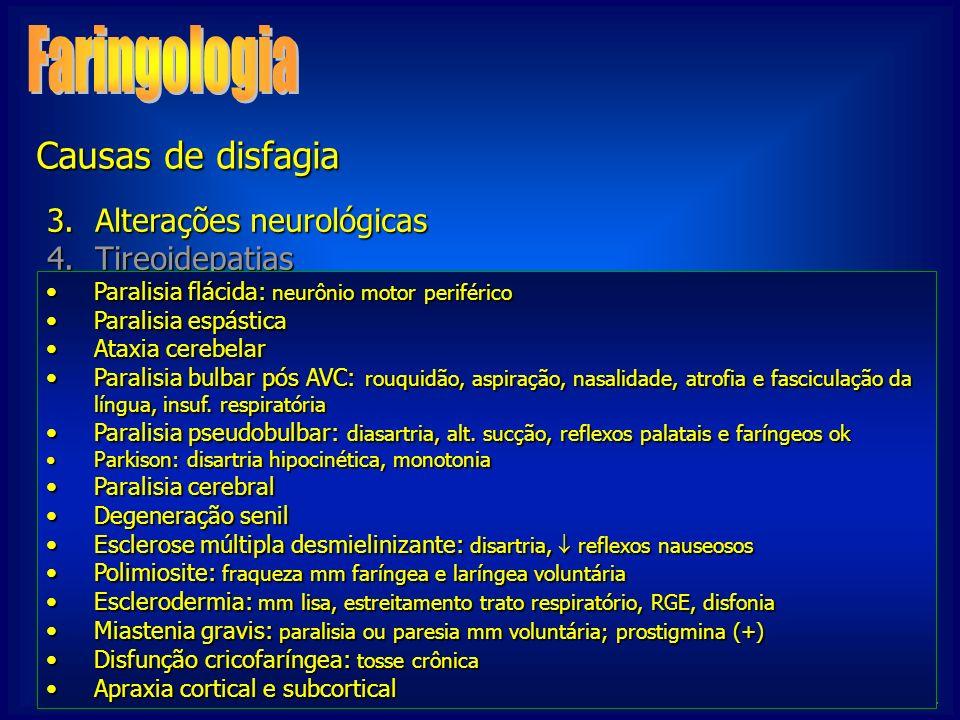 NIGRO, C. 3.Alterações neurológicas 4.Tireoidepatias 5.Outras 1.Globus histericus 2.RGE / RLF Paralisia flácida: neurônio motor periféricoParalisia fl