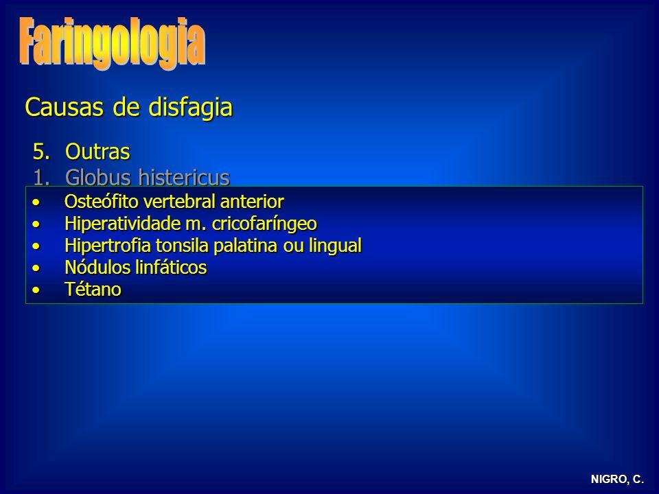NIGRO, C. 5.Outras 1.Globus histericus 2.RGE / RLF 3.Alterações neurológicas 4.Tireoidepatias Osteófito vertebral anteriorOsteófito vertebral anterior