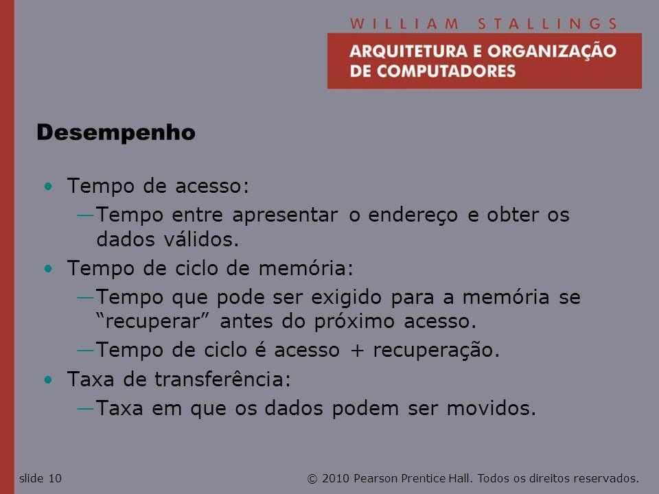 © 2010 Pearson Prentice Hall. Todos os direitos reservados.slide 10 Desempenho Tempo de acesso: Tempo entre apresentar o endereço e obter os dados vál