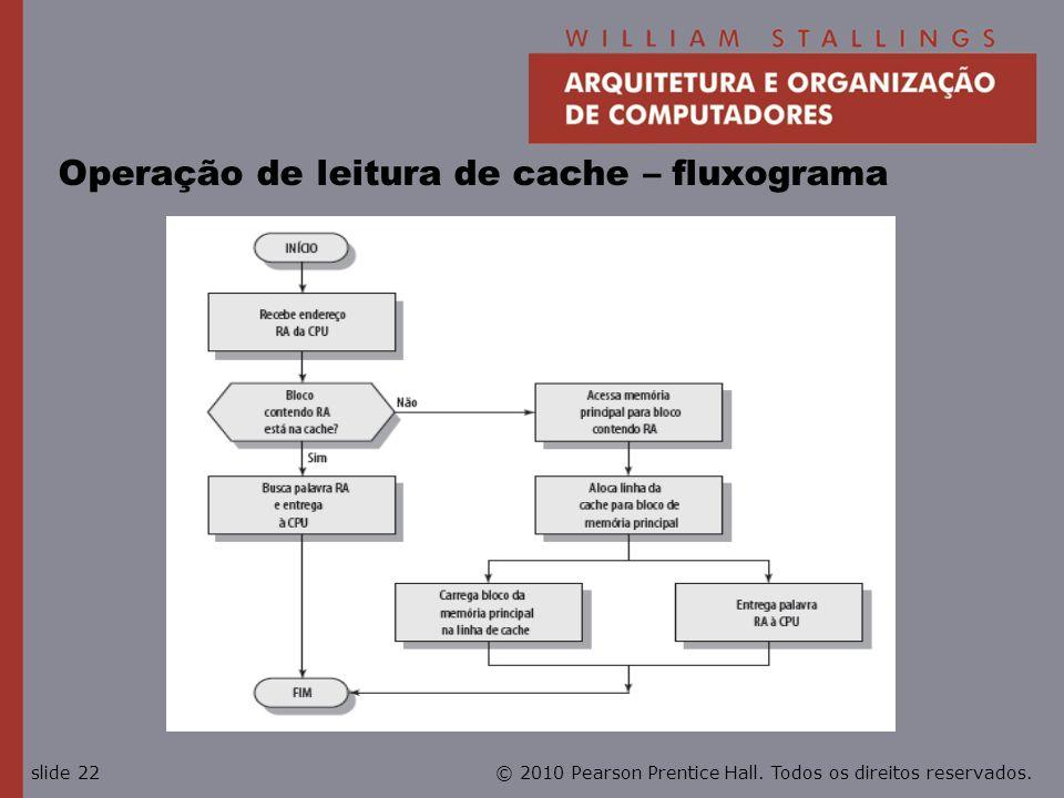 © 2010 Pearson Prentice Hall. Todos os direitos reservados.slide 22 Operação de leitura de cache – fluxograma