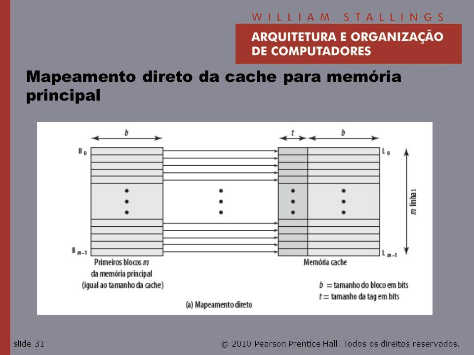 © 2010 Pearson Prentice Hall. Todos os direitos reservados.slide 31 Mapeamento direto da cache para memória principal
