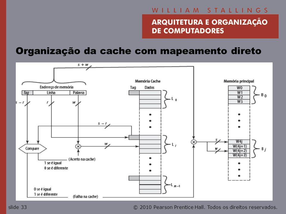 © 2010 Pearson Prentice Hall. Todos os direitos reservados.slide 33 Organização da cache com mapeamento direto