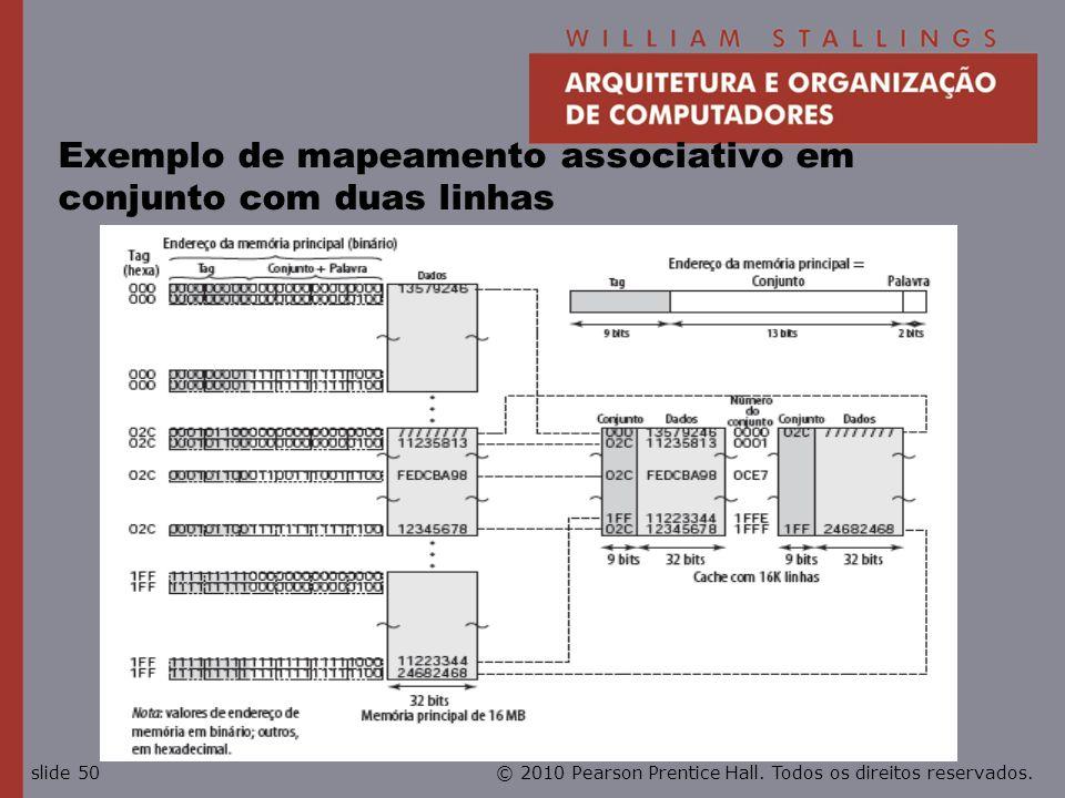 © 2010 Pearson Prentice Hall. Todos os direitos reservados.slide 50 Exemplo de mapeamento associativo em conjunto com duas linhas