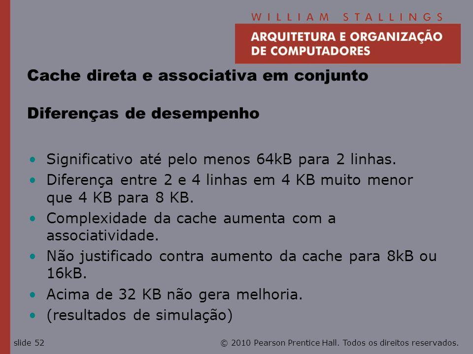 © 2010 Pearson Prentice Hall. Todos os direitos reservados.slide 52 Cache direta e associativa em conjunto Diferenças de desempenho Significativo até