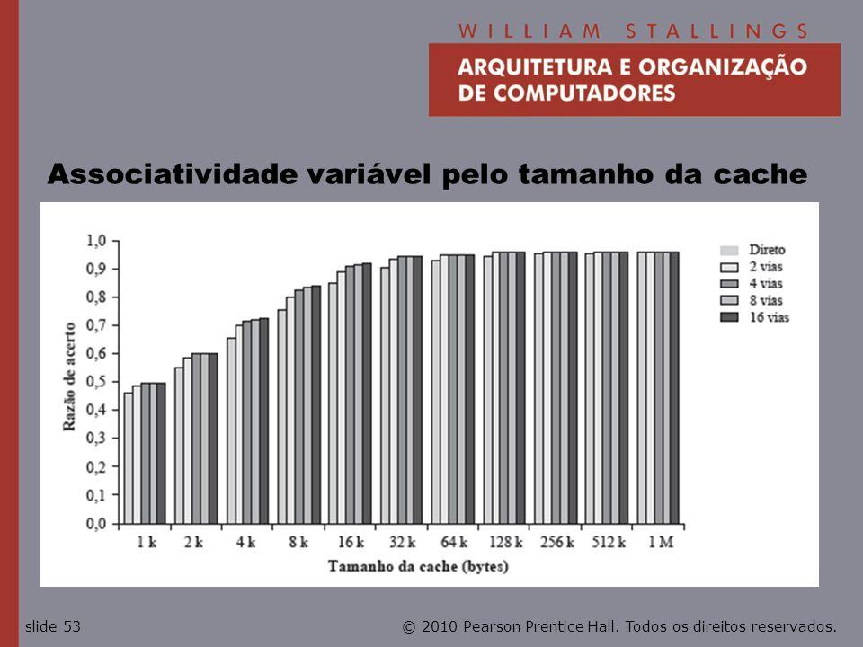 © 2010 Pearson Prentice Hall. Todos os direitos reservados.slide 53 Associatividade variável pelo tamanho da cache