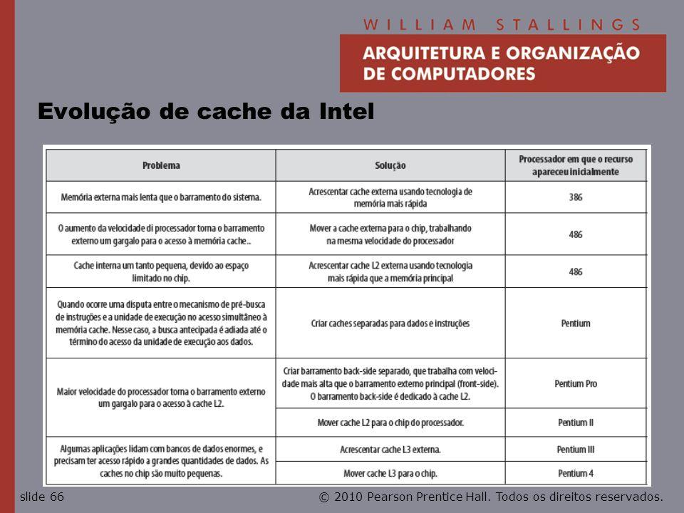 © 2010 Pearson Prentice Hall. Todos os direitos reservados.slide 66 Evolução de cache da Intel
